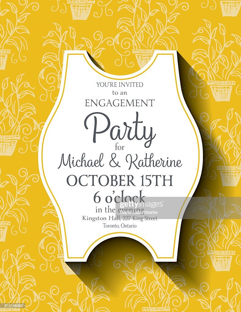 Yellow Party Invitation Template On A Cute Doodled Background