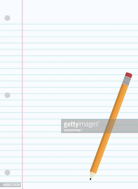 Yellow Pencil with Pink Eraser and Lined Paper
