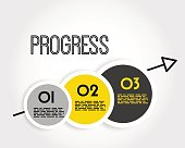 yellow progress infographic balls