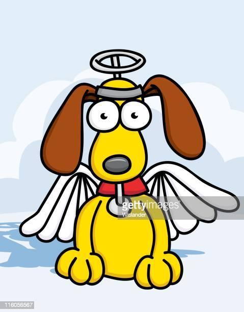 黄色の子犬を天使の衣装