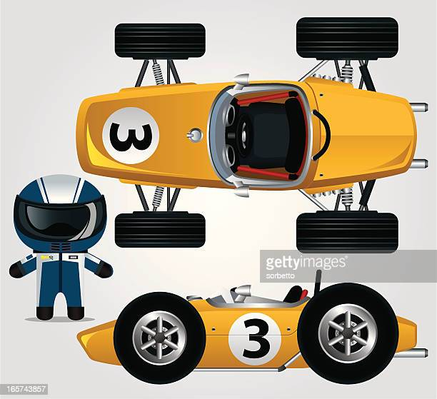 yellow race car - race car stock illustrations, clip art, cartoons, & icons