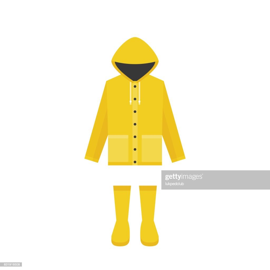 yellow raincoat and rubber boots, flat design for rainy season