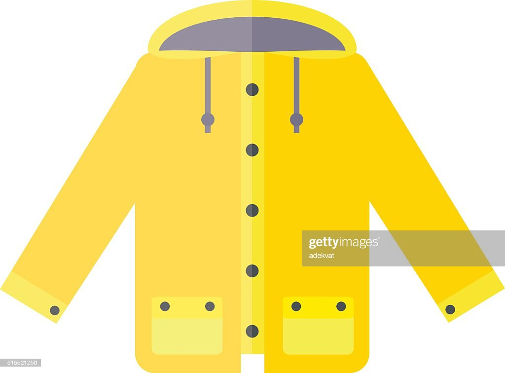 Yellow raincoat weather jacket cartoon vector illustration