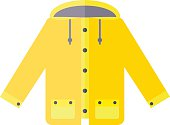 Yellow raincoat weather jacket cartoon vector illustration