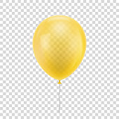 Yellow realistic balloon.