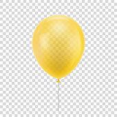 Yellow realistic balloon.