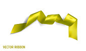 Yellow realistic silk vector ribbon