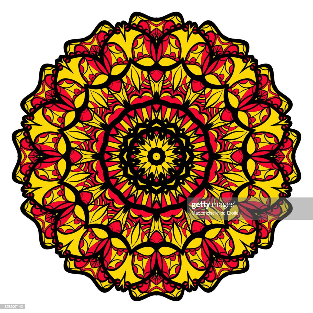 Yellow Red Black Color Flower Mandala Round Ornament Design For Greeting Card Invitation