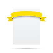Yellow ribbon on blank white label - Design Elements