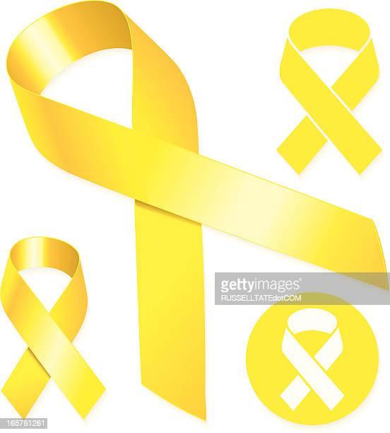 Amarelo fitas com longa e cauda curta