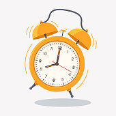 Yellow ringing alarm clock icon isolated on white background. Wake up time. Desk clock vector illustration in flat style. Element for your design.