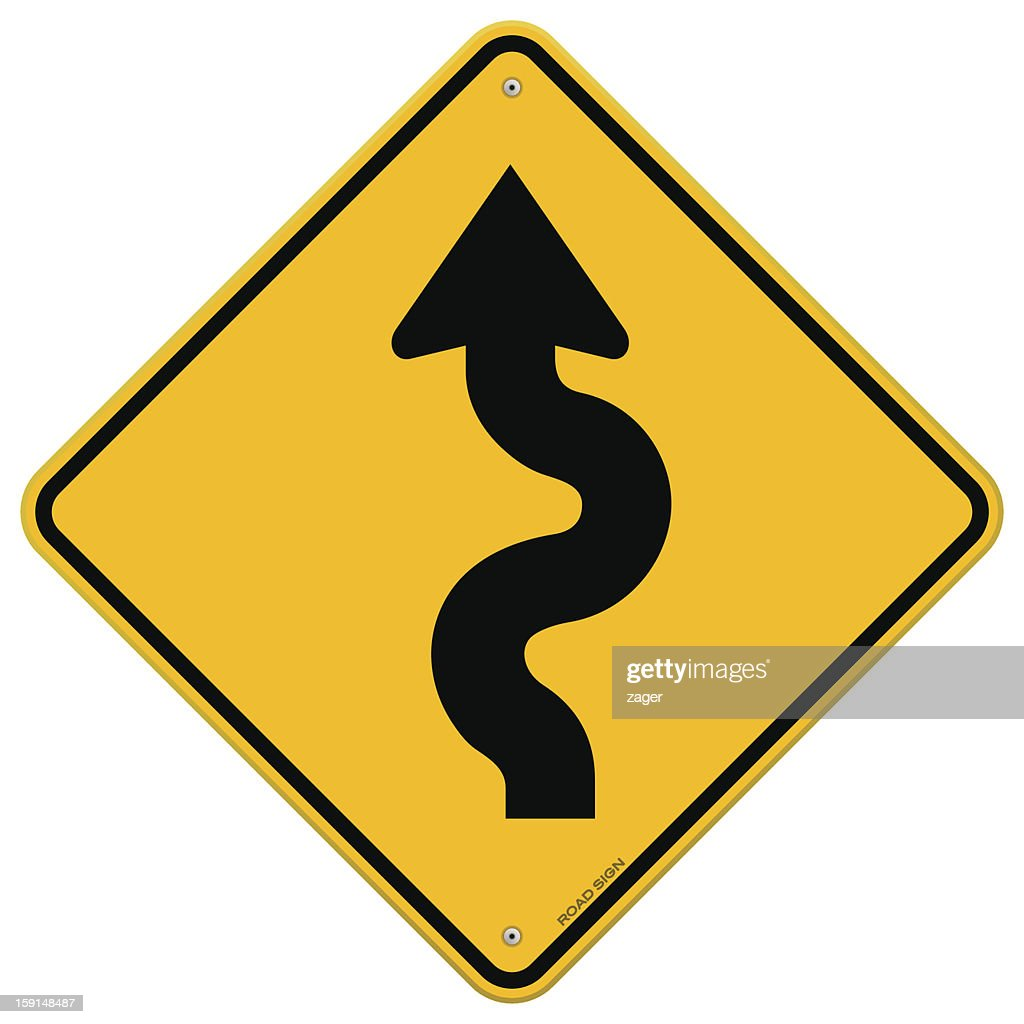 Yellow road sign showing winding roads ahead