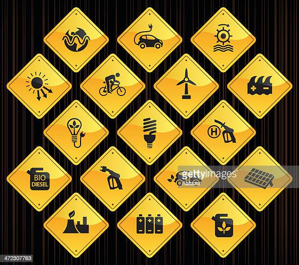 yellow road signs - alternative energy - biodiesel stock illustrations, clip art, cartoons, & icons