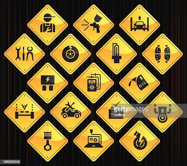 Yellow Road Signs - Automobile Repair Shop