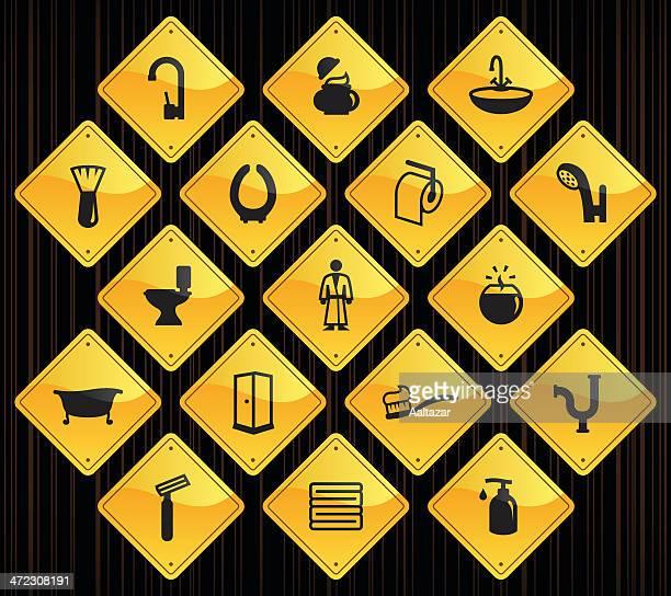 Panneaux jaunes-Salle de bains