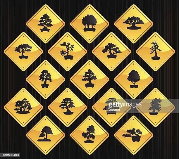 yellow road signs - bonsais - cedar tree stock illustrations, clip art, cartoons, & icons