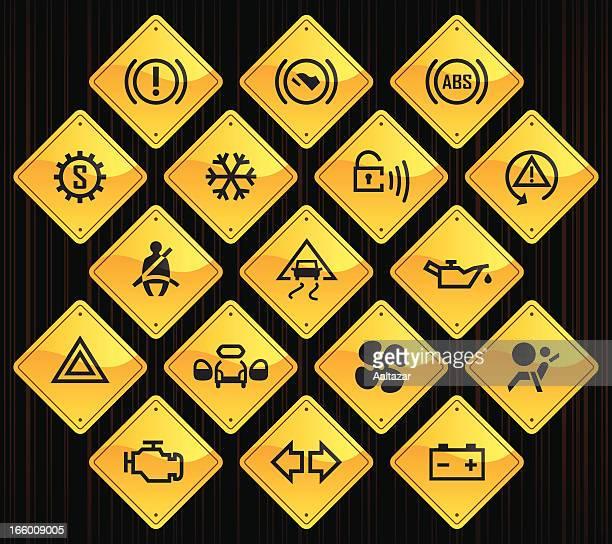 Yellow Road Signs - Car Control Indicators