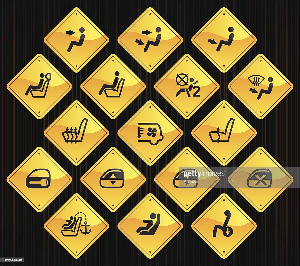 Yellow Road Signs - Car Control Indicators : stock illustration