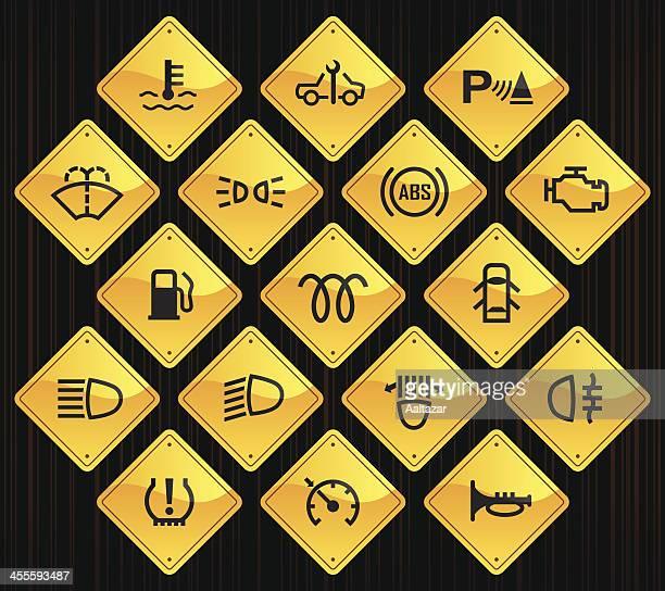 Gelbe Straße Zeichen-Auto Kontrolle Indikatoren