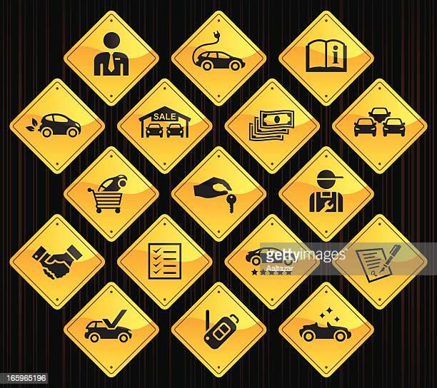 yellow road signs - car dealership - car ownership stock illustrations, clip art, cartoons, & icons
