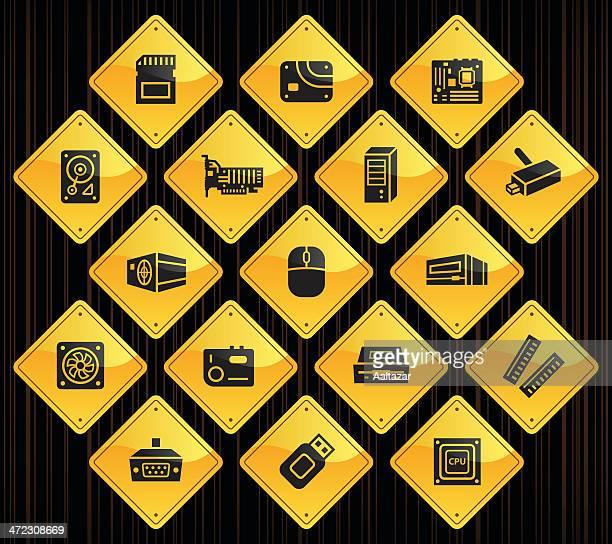 yellow road signs - computer parts - power supply box stock illustrations, clip art, cartoons, & icons