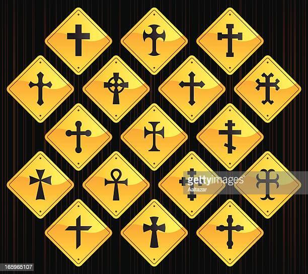 yellow road signs - crosses - celtic cross stock illustrations, clip art, cartoons, & icons