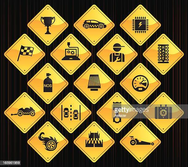 yellow road signs - drag racing - street racing stock illustrations, clip art, cartoons, & icons