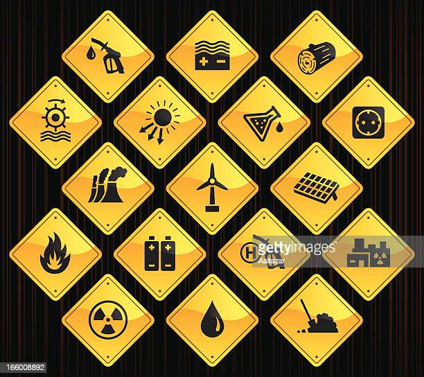 Yellow Road Signs - Energy Sources