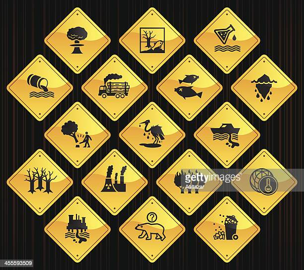 yellow road signs - environmental damage - spill stock illustrations, clip art, cartoons, & icons