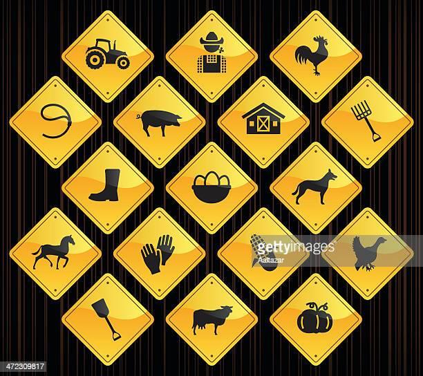 Yellow Road Signs - Farm
