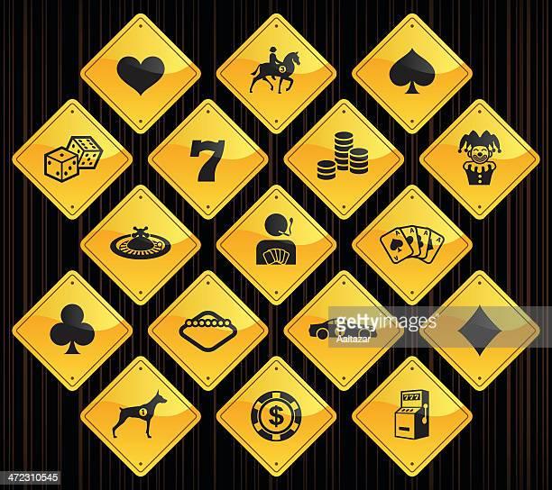 ilustraciones, imágenes clip art, dibujos animados e iconos de stock de amarillo señalizaciones-juegos de azar - fajo de billetes