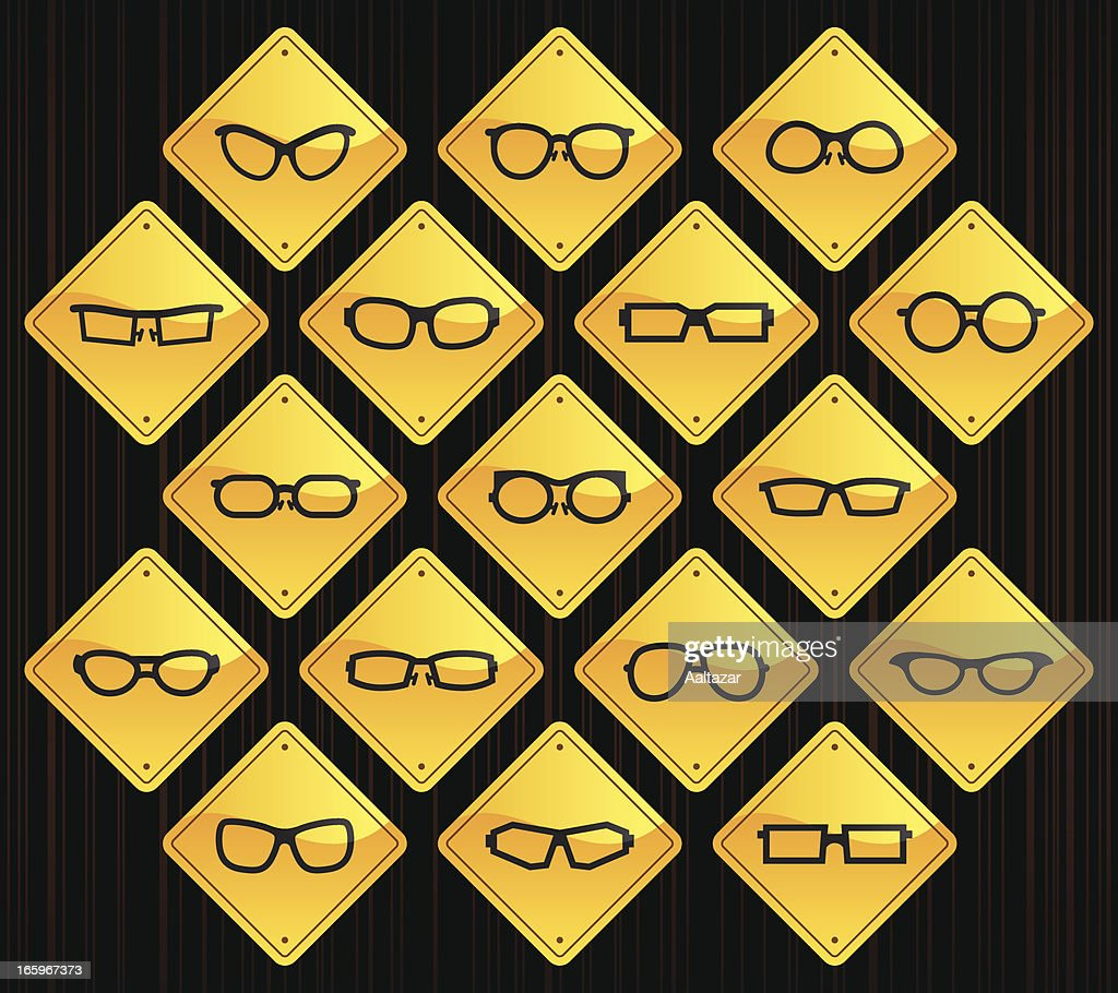 Yellow Road Signs - Glasses : stock illustration