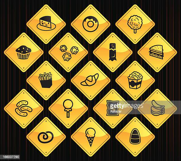 yellow road signs - junk food - toasted sandwich stock illustrations, clip art, cartoons, & icons