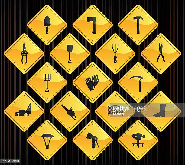 yellow road signs - lawn & garden - harrow agricultural equipment stock illustrations, clip art, cartoons, & icons