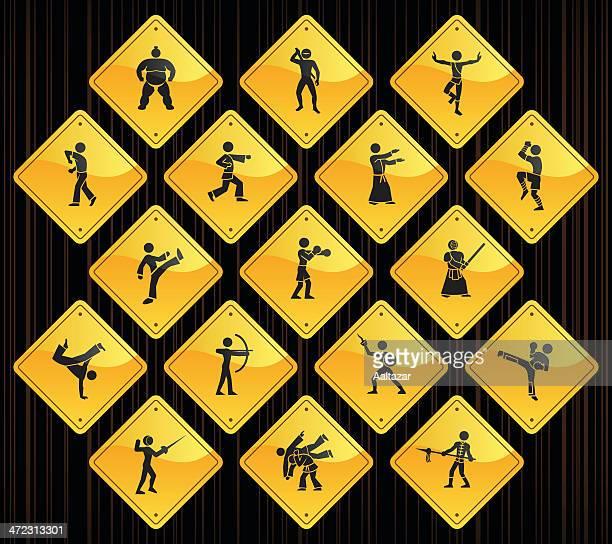 ilustrações de stock, clip art, desenhos animados e ícones de sinais da estrada amarela-artes marciais - capoeira