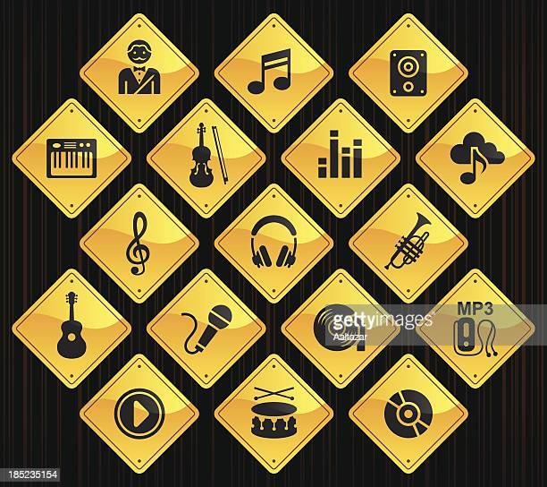 yellow road signs - music - colors soundtrack stock illustrations