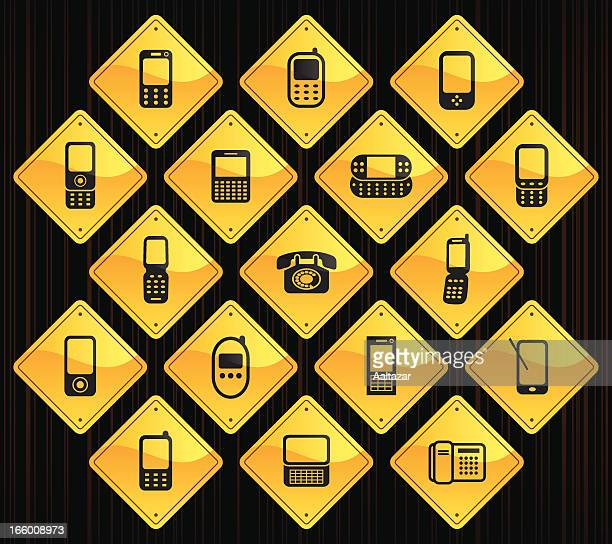 yellow road signs - phones - candlestick phone stock illustrations