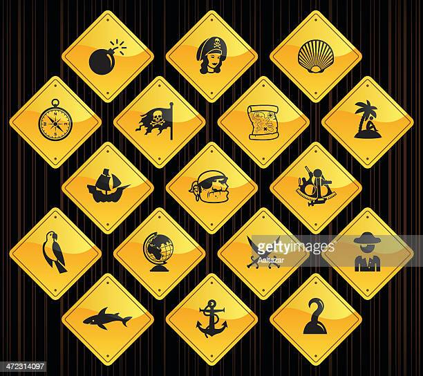 Yellow Road Signs - Pirates