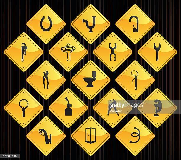 黄色の道路標識-配管ツール&素材