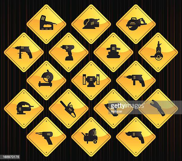 yellow road signs - power tools - serrated stock illustrations, clip art, cartoons, & icons