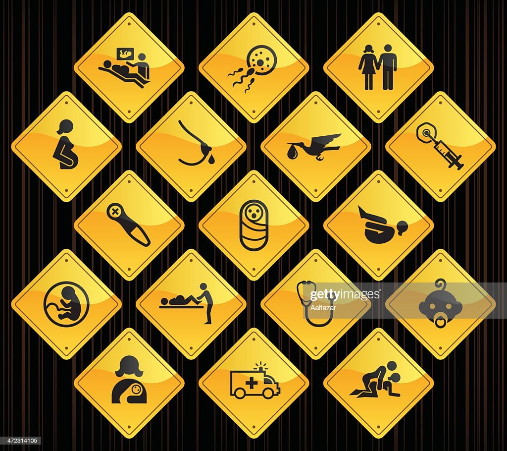Yellow Road Signs - Pregnancy & Childbirth : stock illustration