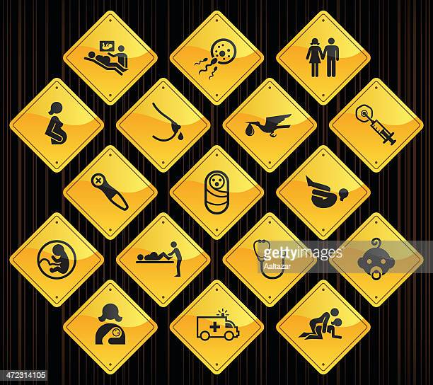 yellow road signs - pregnancy & childbirth - animal fetus stock illustrations, clip art, cartoons, & icons