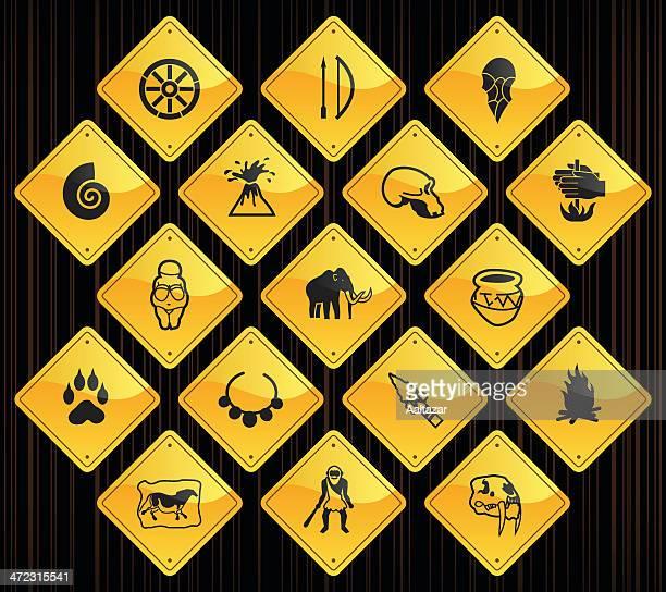 yellow road signs - prehistory - history stock illustrations, clip art, cartoons, & icons