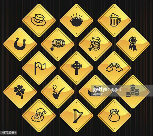 yellow road signs - saint patrick's day - celtic music stock illustrations, clip art, cartoons, & icons