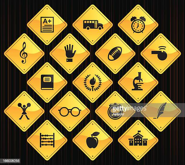 yellow road signs - school - sport torch stock illustrations, clip art, cartoons, & icons
