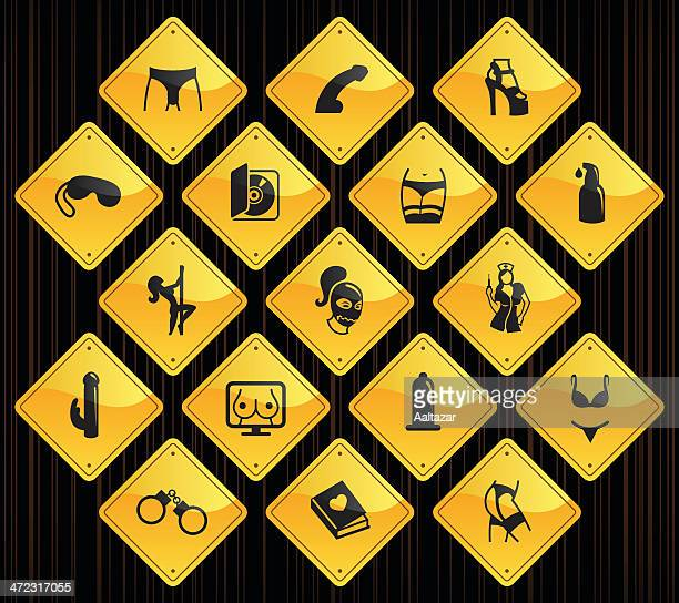yellow road signs - sex industry - sexual fetish stock illustrations, clip art, cartoons, & icons