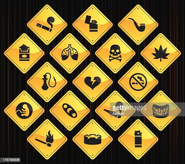yellow road signs - smoking - hashish stock illustrations, clip art, cartoons, & icons