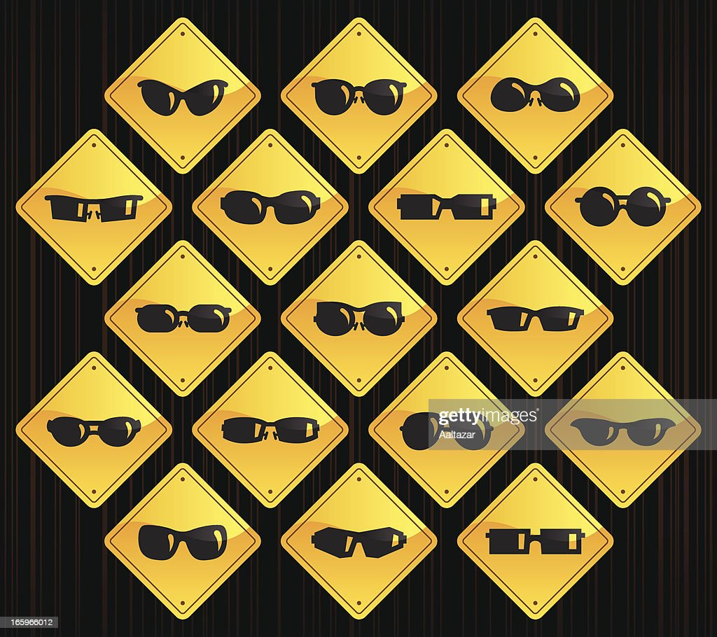 Yellow Road Signs - Sunglasses : stock illustration