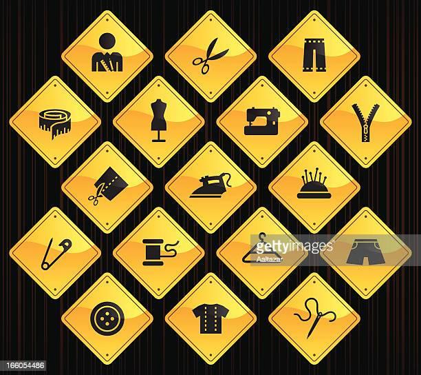 黄色の道路標識-調整 - ジャージ素材点のイラスト素材/クリップアート素材/マンガ素材/アイコン素材