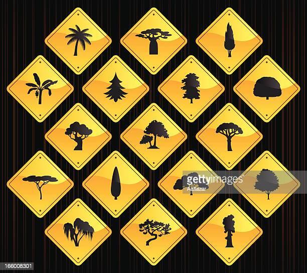 黄色の道路標識-の木 - アカシア点のイラスト素材/クリップアート素材/マンガ素材/アイコン素材